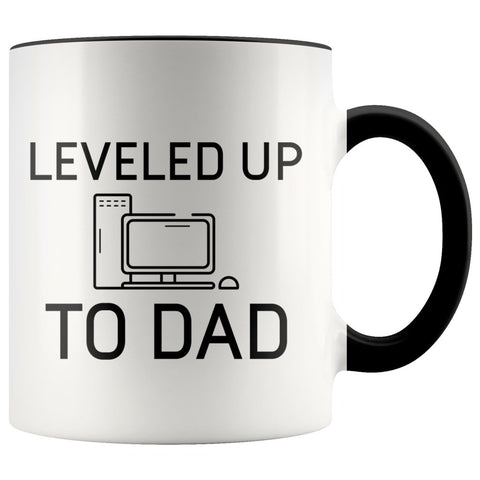 New Dad Pregnancy Reveal Gift: Leveled Up To Dad PC Gamer Coffee Mug $14.99 | Black Drinkware