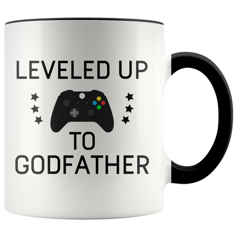 New Godfather Gift Leveled Up To Godfather Mug Gifts for Future Godfather To Be $19.99 | Black Drinkware