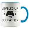 New Godfather Gift Leveled Up To Godfather Mug Gifts for Future Godfather To Be $19.99 | Blue Drinkware