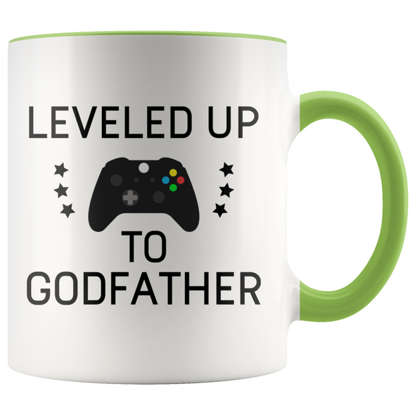 New Godfather Gift Leveled Up To Godfather Mug Gifts for Future Godfather To Be $19.99 | Green Drinkware