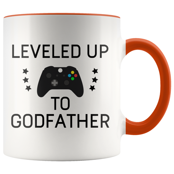 New Godfather Gift Leveled Up To Godfather Mug Gifts for Future Godfather To Be $19.99 | Orange Drinkware