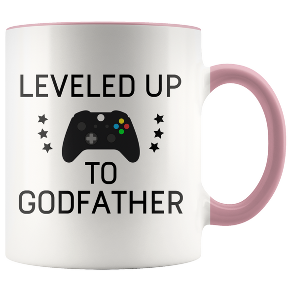 New Godfather Gift Leveled Up To Godfather Mug Gifts for Future Godfather To Be $19.99 | Pink Drinkware