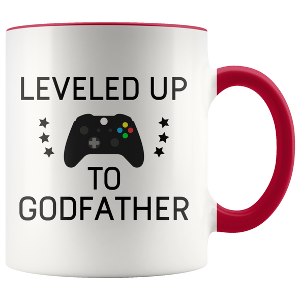 New Godfather Gift Leveled Up To Godfather Mug Gifts for Future Godfather To Be $19.99 | Red Drinkware