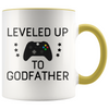 New Godfather Gift Leveled Up To Godfather Mug Gifts for Future Godfather To Be $19.99 | Yellow Drinkware
