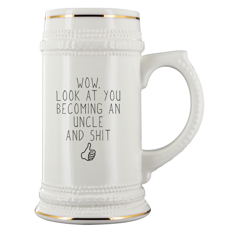 New Uncle Gift Uncle To Be Uncle Beer Stein Pregnancy Announcement Beer Mug 22oz $39.95 | 22oz Beer Stein Drinkware