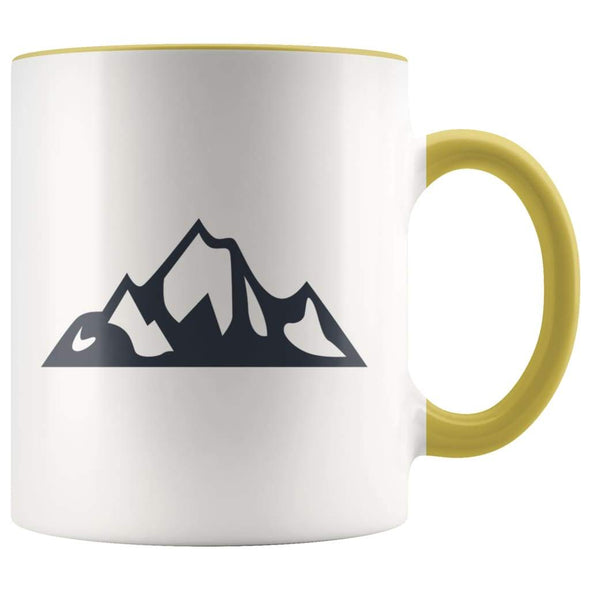 Outdoor Gift Women And Men - Mountains Coffee Mug - Yellow - Custom Made Drinkware