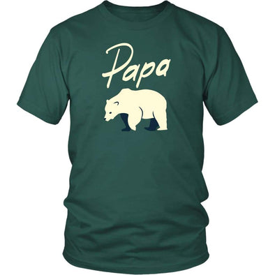 Papa Bear Shirt - Gift For Dad Fathers Day Gift Dad T-Shirt - District Unisex Shirt / Dark Green / S - Custom Made T-Shirt