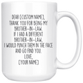 Personalized Brother In Law Gifts | Custom Name Mug | Funny Gifts for Brother-In-Law | Thank You For Being My Brother In Law Coffee Mug 11oz or 15oz