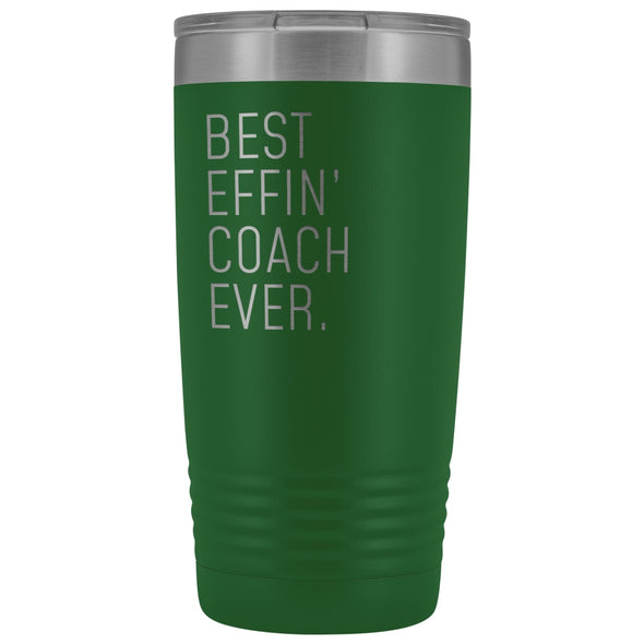 Personalized Coach Gift: Best Effin Coach Ever. Insulated Tumbler 20oz $29.99 | Green Tumblers