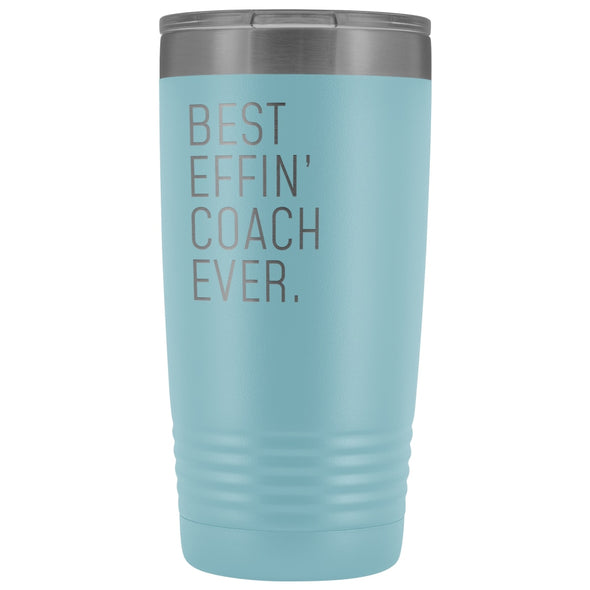 Personalized Coach Gift: Best Effin Coach Ever. Insulated Tumbler 20oz $29.99 | Light Blue Tumblers