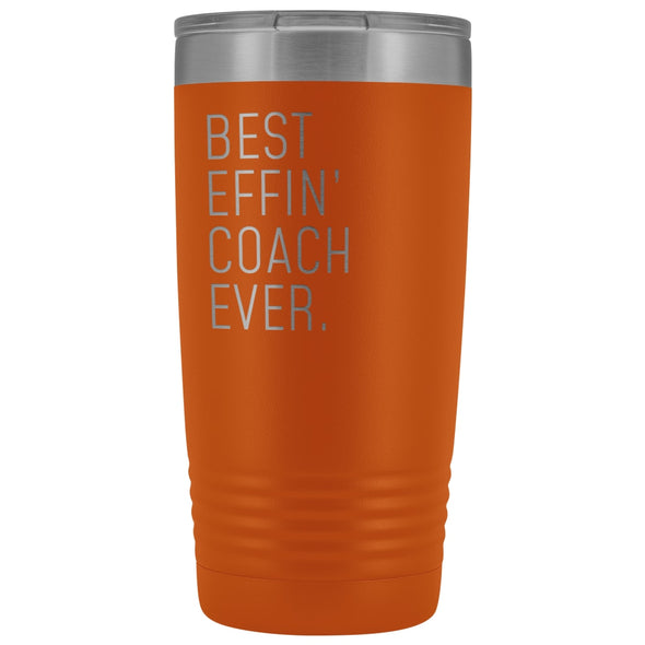Personalized Coach Gift: Best Effin Coach Ever. Insulated Tumbler 20oz $29.99 | Orange Tumblers