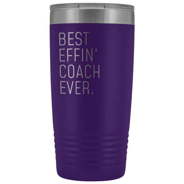 Personalized Coach Gift: Best Effin Coach Ever. Insulated Tumbler 20oz $29.99 | Purple Tumblers