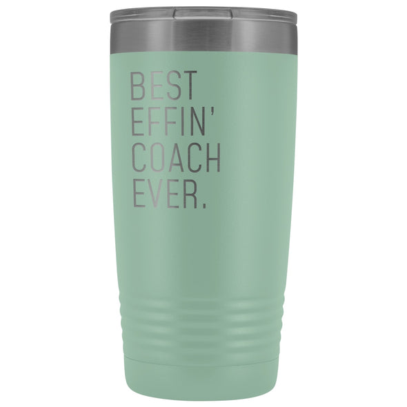Personalized Coach Gift: Best Effin Coach Ever. Insulated Tumbler 20oz $29.99 | Teal Tumblers
