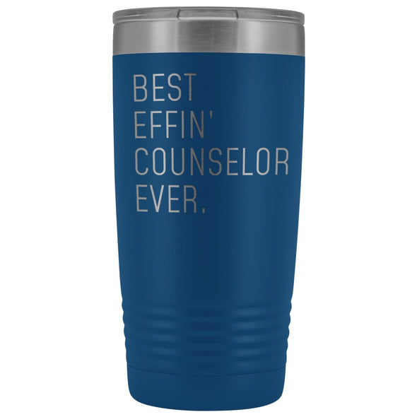 Personalized Counselor Gift: Best Effin Counselor Ever. Insulated Tumbler 20oz $29.99 | Blue Tumblers