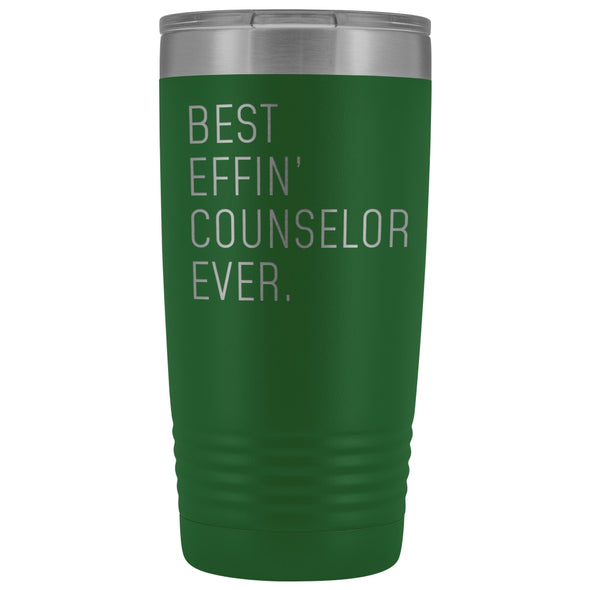 Personalized Counselor Gift: Best Effin Counselor Ever. Insulated Tumbler 20oz $29.99 | Green Tumblers