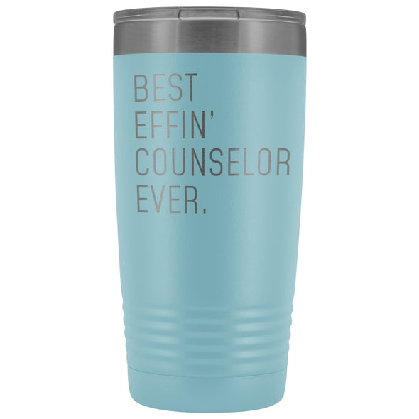 Personalized Counselor Gift: Best Effin Counselor Ever. Insulated Tumbler 20oz $29.99 | Light Blue Tumblers