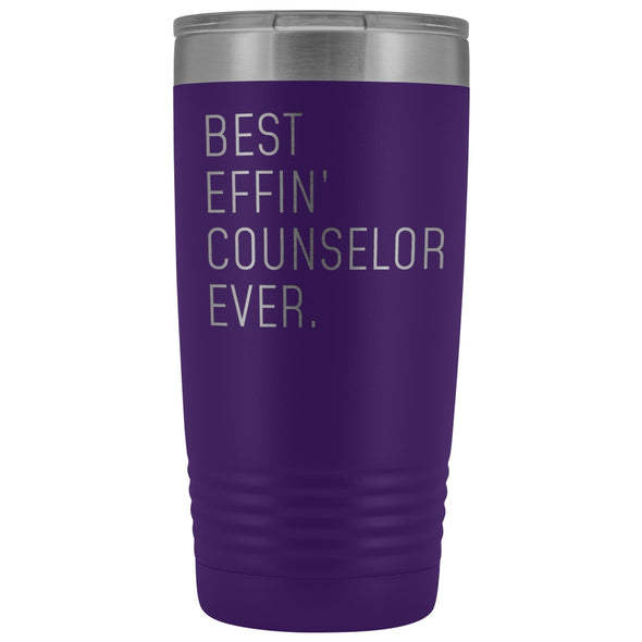 Personalized Counselor Gift: Best Effin Counselor Ever. Insulated Tumbler 20oz $29.99 | Purple Tumblers