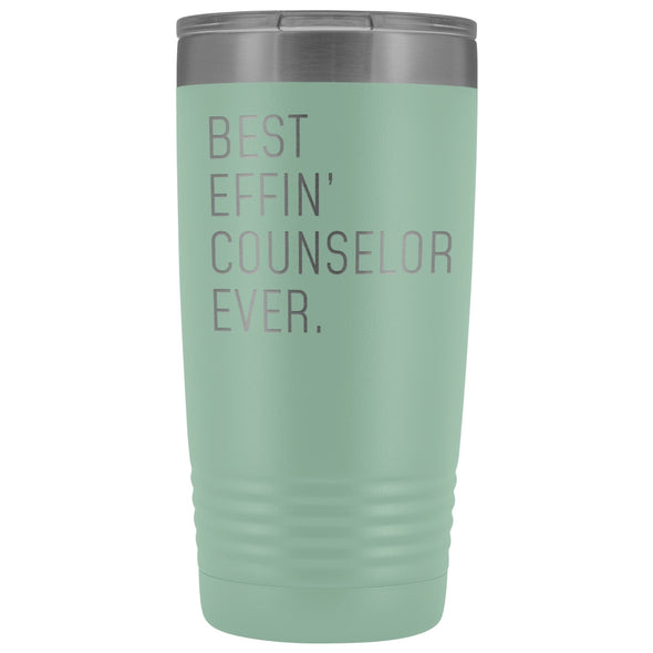 Personalized Counselor Gift: Best Effin Counselor Ever. Insulated Tumbler 20oz $29.99 | Teal Tumblers