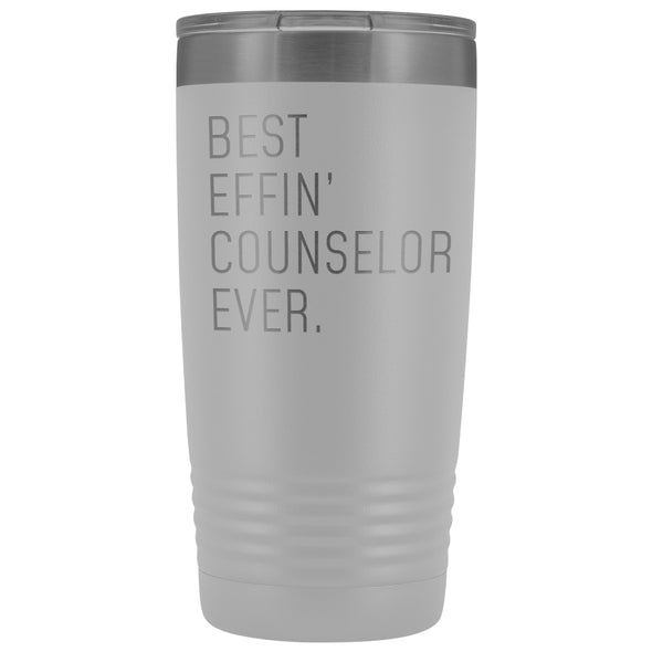 Personalized Counselor Gift: Best Effin Counselor Ever. Insulated Tumbler 20oz $29.99 | White Tumblers