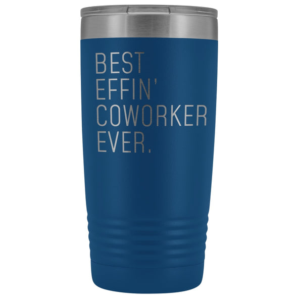 Personalized Coworker Gift: Best Effin Coworker Ever. Insulated Tumbler 20oz $29.99 | Blue Tumblers