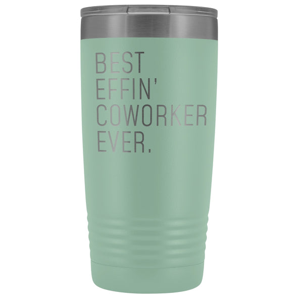 Personalized Coworker Gift: Best Effin Coworker Ever. Insulated Tumbler 20oz $29.99 | Teal Tumblers