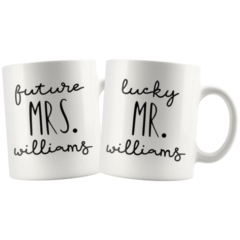 Personalized Engagement Gift For Couple Custom Name Wedding Gifts for Groom and Bride Mug Combo Set 11oz $29.50 | Mrs., Mr. Drinkware