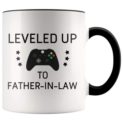 Personalized Father of the Bride Gift: Leveled Up To Father-In-Law Coffee Mug $14.99 | Black Drinkware
