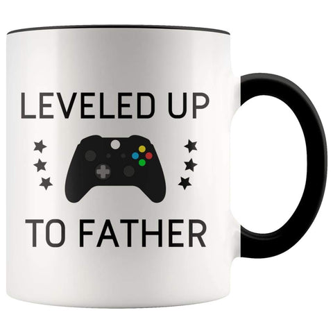 Personalized First Time Fathers Day New Dad Gift: Leveled Up To Father Coffee Mug $14.99 | Black Drinkware