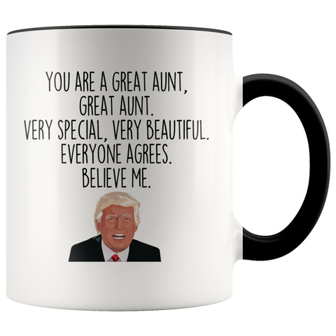 Personalized Funny Aunt Gifts Donald Trump Parody Gag Gifts for Aunt Coffee Mug $19.99 | Black Drinkware