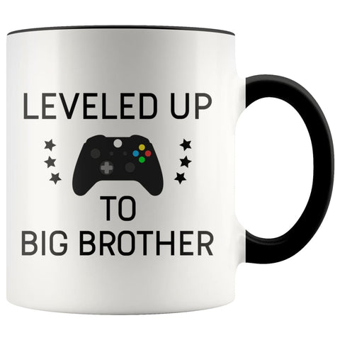 Personalized Gift for New Big Brother: Leveled Up To Big Brother Mug $14.99 | Black Drinkware
