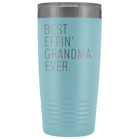 Personalized Grandma Gift: Best Effin Grandma Ever. Insulated Tumbler 20oz $29.99 | Light Blue Tumblers