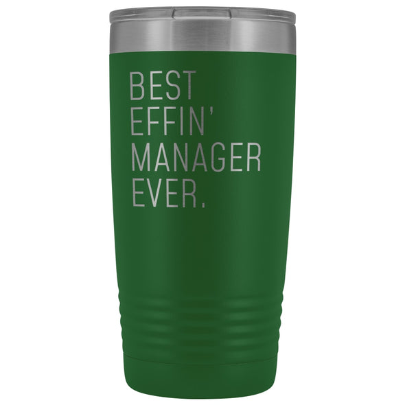 Personalized Manager Gift: Best Effin Manager Ever. Insulated Tumbler 20oz $29.99 | Green Tumblers