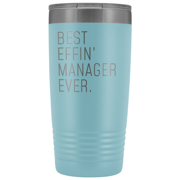 Personalized Manager Gift: Best Effin Manager Ever. Insulated Tumbler 20oz $29.99 | Light Blue Tumblers