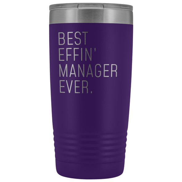 Personalized Manager Gift: Best Effin Manager Ever. Insulated Tumbler 20oz $29.99 | Purple Tumblers