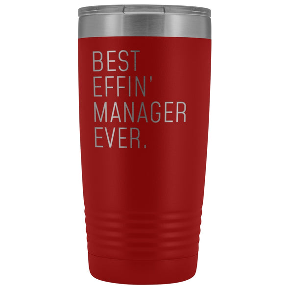 Personalized Manager Gift: Best Effin Manager Ever. Insulated Tumbler 20oz $29.99 | Red Tumblers