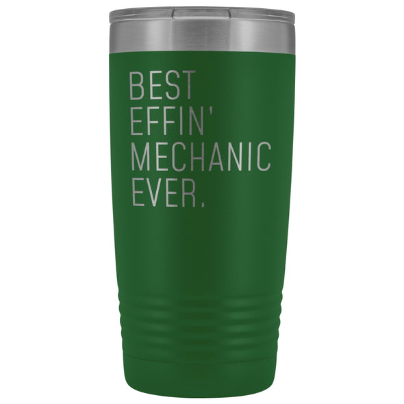 Personalized Mechanic Gift: Best Effin Mechanic Ever. Insulated Tumbler 20oz $29.99 | Green Tumblers