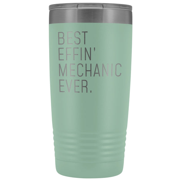 Personalized Mechanic Gift: Best Effin Mechanic Ever. Insulated Tumbler 20oz $29.99 | Teal Tumblers