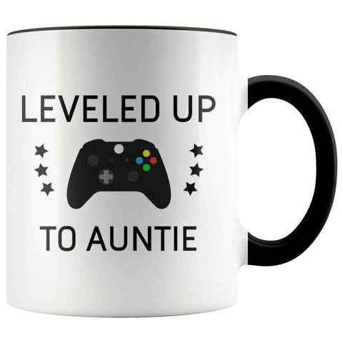 Personalized New Aunt Gift: Leveled Up To Auntie Coffee Mug $14.99 | Black Drinkware