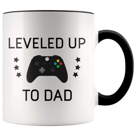 Personalized New Dad Gift: Leveled Up To Dad Coffee Mug $14.99 | Black Drinkware