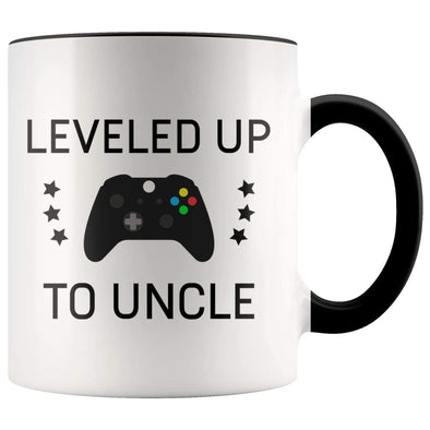 Personalized New Uncle Gift: Leveled Up To Uncle Coffee Mug $14.99 | Black Drinkware