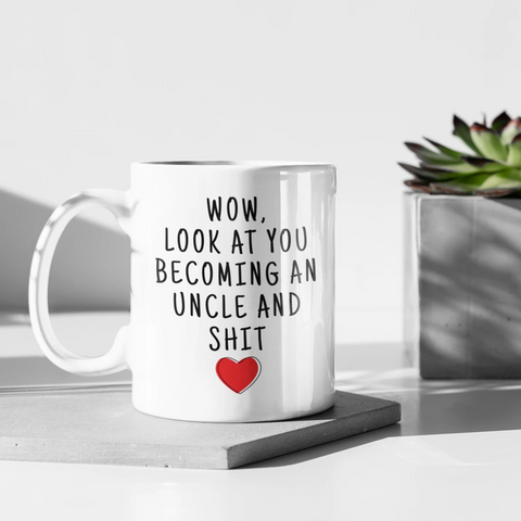 Pregnancy Reveal To Uncle: Wow Look At You Becoming An Uncle Mug | New Uncle Gift $18.99 | Uncle To Be Mug Drinkware
