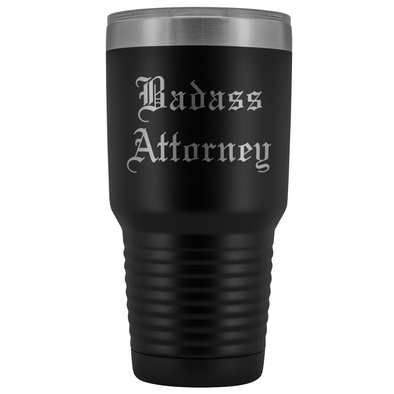 Unique Attorney Gift: Personalized Badass Attorney Law School Student Old English Insulated Tumbler 30 oz $38.95 | Black Tumblers