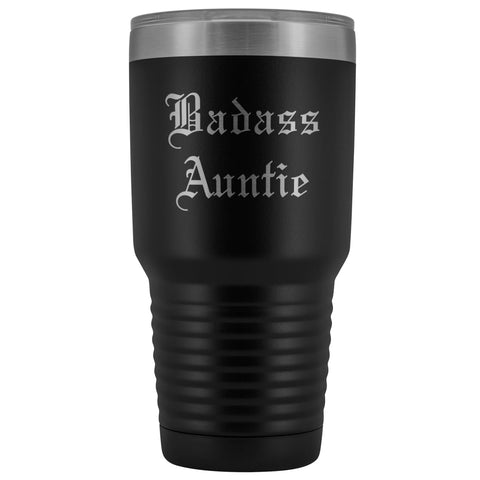 Unique Auntie Gift: Old English Badass Auntie Insulated Tumbler 30 oz $38.95 | Black Tumblers