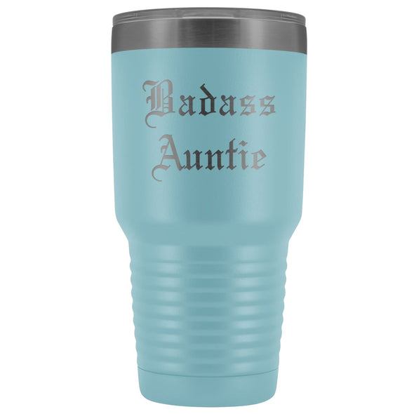 Unique Auntie Gift: Old English Badass Auntie Insulated Tumbler 30 oz $38.95 | Light Blue Tumblers