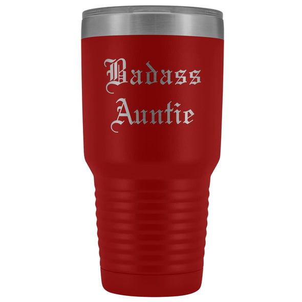 Unique Auntie Gift: Old English Badass Auntie Insulated Tumbler 30 oz $38.95 | Red Tumblers