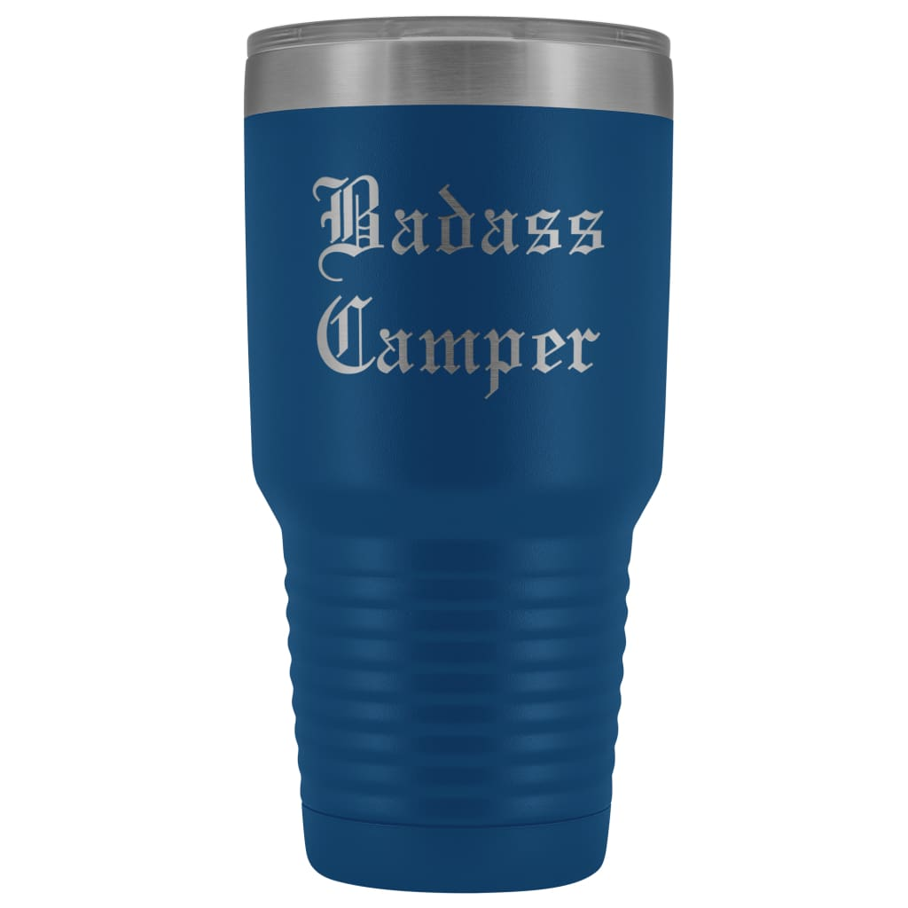 Unique Camping Gift: Personalized ''Badass Camper'' Outdoor Father's Day Cool Awesome Old English Insulated Tumbler 30 oz