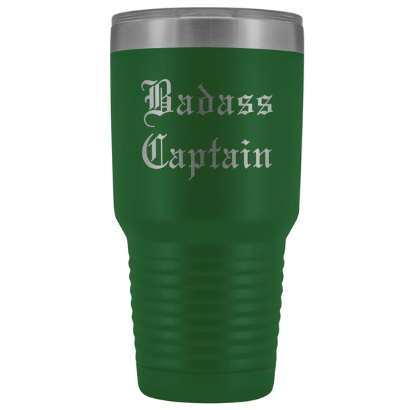 Unique Captain Gift: Personalized Badass Captain Boat Team Cheer Gift Idea Old English Insulated Tumbler 30 oz $38.95 | Green Tumblers