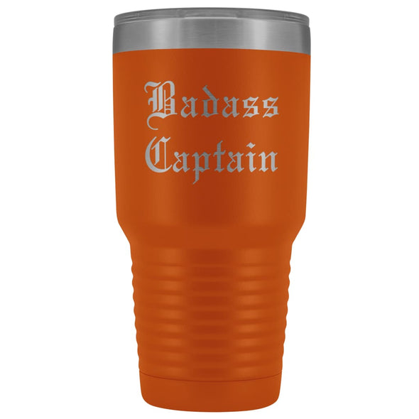 Unique Captain Gift: Personalized Badass Captain Boat Team Cheer Gift Idea Old English Insulated Tumbler 30 oz $38.95 | Orange Tumblers