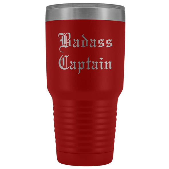 Unique Captain Gift: Personalized Badass Captain Boat Team Cheer Gift Idea Old English Insulated Tumbler 30 oz $38.95 | Red Tumblers