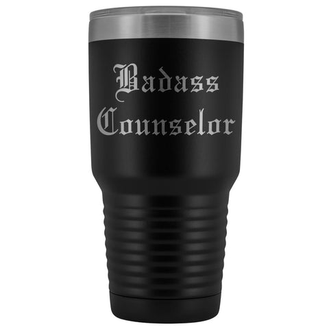 Unique Counselor Gift: Personalized Badass Counselor Teacher Thank You Gift Idea Old English Insulated Tumbler 30 oz $38.95 | Black Tumblers